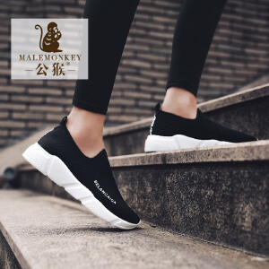 公猴夏季网面鞋女运动鞋透气跑步鞋女平底休闲女鞋一脚蹬厚底单鞋