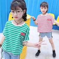 花样童依 亲子装中大女童夏款条纹T恤衫2017新款韩版蝙蝠短袖T宽松套头上衣 H1768横条T恤