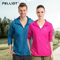 法国PELLIOT户外皮肤衣男女 透气超薄防紫外线 UPF40+防晒衣运动防风衣