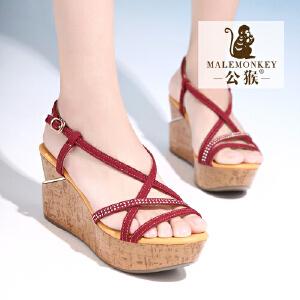 公猴夏季新品坡跟女凉鞋真皮松糕厚底凉鞋女欧美休闲时尚凉鞋潮