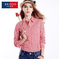 BRIOSO 2017春装新款全棉磨毛女式长袖衬衫 韩版修身棋盘格长袖格子衬衫 大码女装衬衣  WE18995