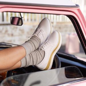 卓诗尼2017春季新款松糕厚底单鞋 英伦休闲潮流女鞋皮鞋112716311