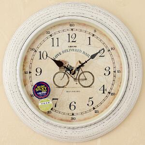 丽盛挂钟欧式客厅静音钟表创意实木石英钟仿古个性挂表田园办公室时钟B8041 B8226FS