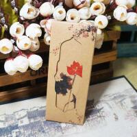 萌味 书签 中国风复古套装牛皮纸小礼品学生古风唯美纸质书签之荷影创意礼品生日礼物(8张/套)