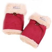 女 学生冬可爱半指手套  女冬季棉毛绒翻盖露指厚手套